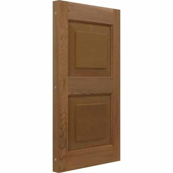 Raised panel western red cedar exterior shutter.