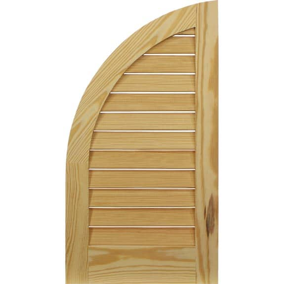 Economy Pine louvered exterior arch top shutter.
