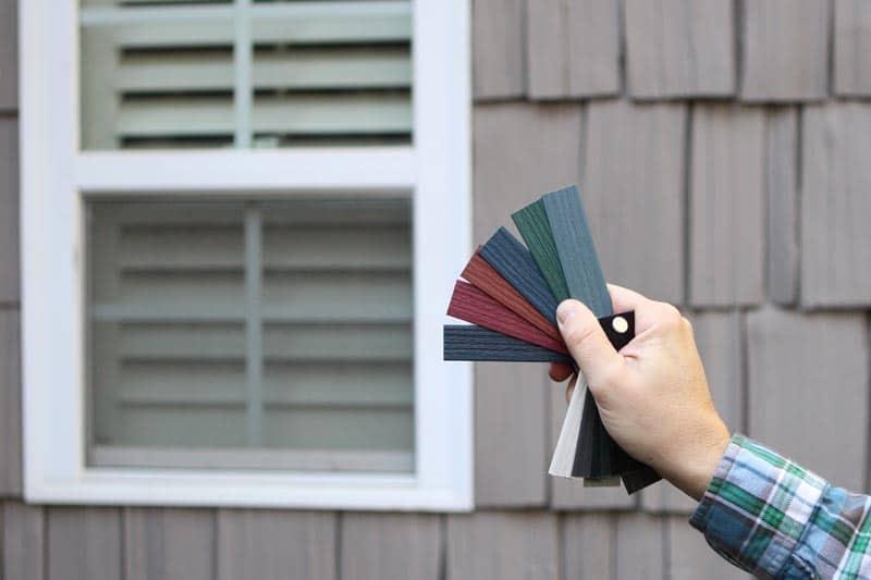 Select exterior vinyl shutter colors.