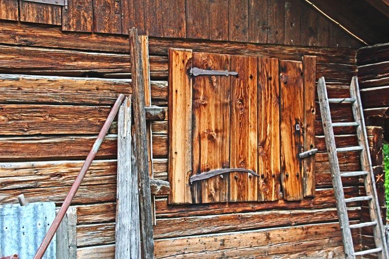 Rustic shutter in Swiss mountain village