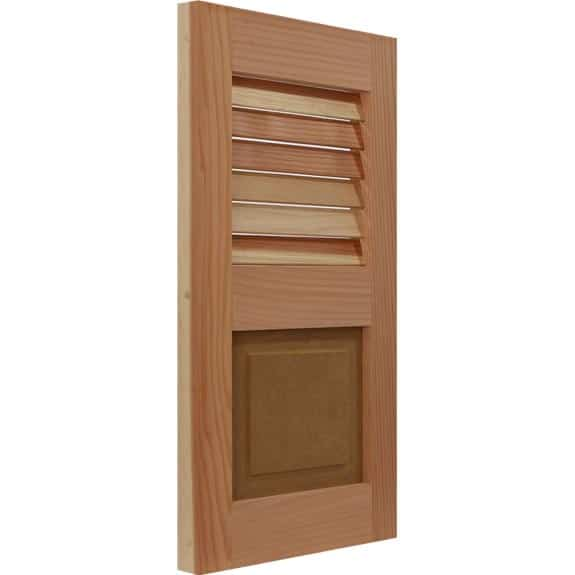 Combination Redwood exterior shutter with louvers and raised panel.